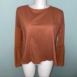 EASEL Rust Colored Mesh Ruffle Sleeve Top